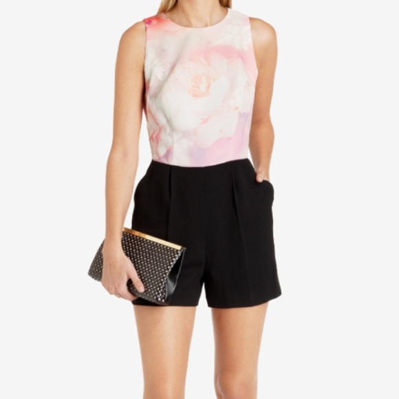 30041791cbee6 Ted Baker Rose on Canvas Floral Playsuit Romper 0.  M 5b20657eaa5719531788ef15